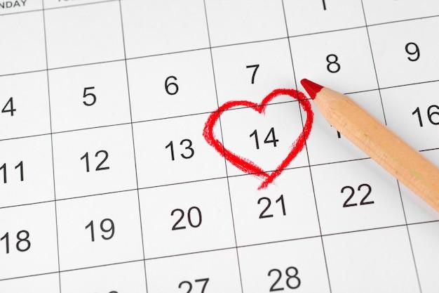Calendário com data de são valentim