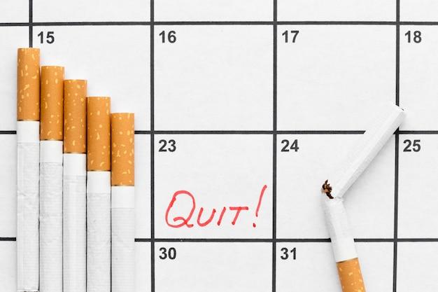Calendário com data para parar de fumar