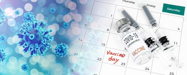 Calendário com datas de vacinação, uma vacina covid-19 e um conceito médico