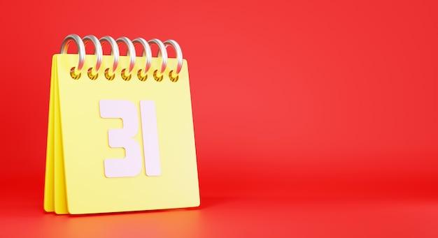 Calendário da área de trabalho em relação ao último dia, ano, número 31, ilustração de renderização 3d