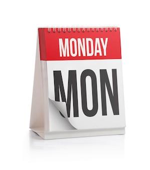 Calendário da semana, página de segunda-feira