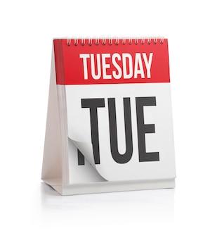 Calendário da semana, página de terça-feira