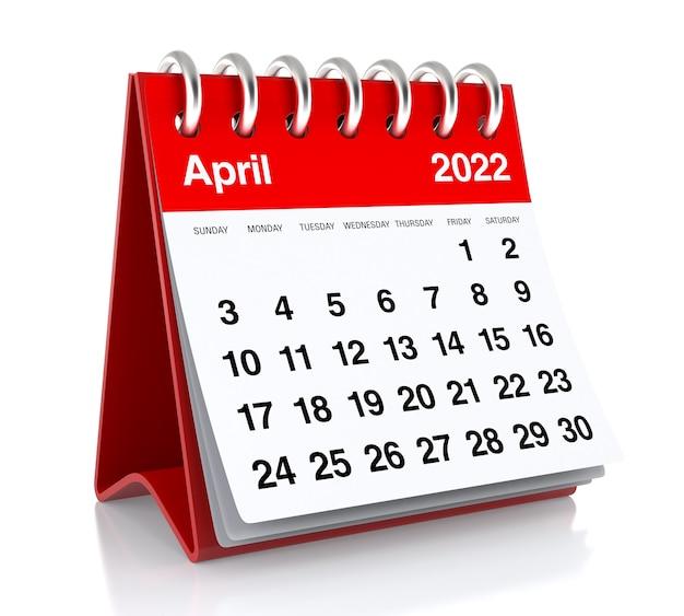 Calendário de abril de 2022. isolado no fundo branco. ilustração 3d
