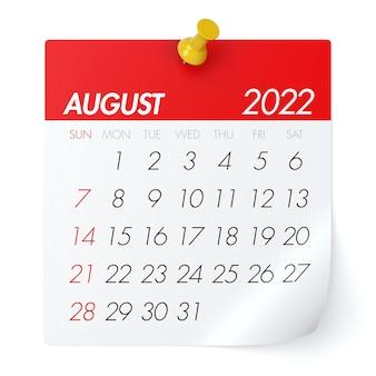 Calendário de agosto de 2022. isolado no fundo branco. ilustração 3d