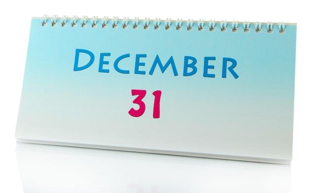 Calendário de ano novo, isolado no branco
