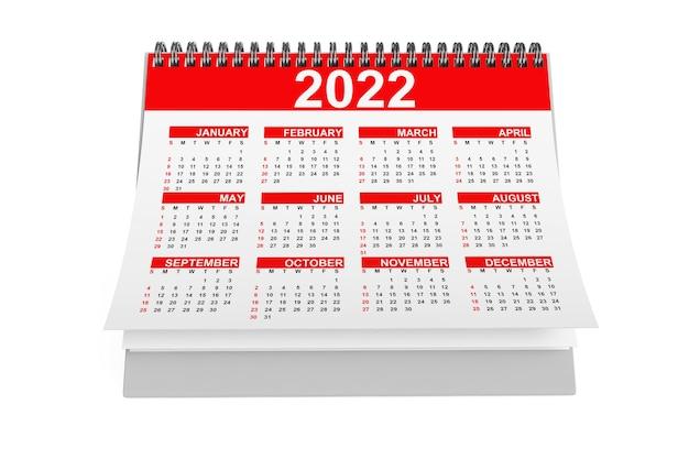 Calendário de área de trabalho de 2022 anos em um fundo branco. renderização 3d