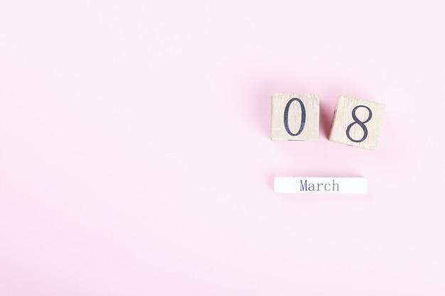 Calendário de bloco de madeira internacional de 8 de março womens day