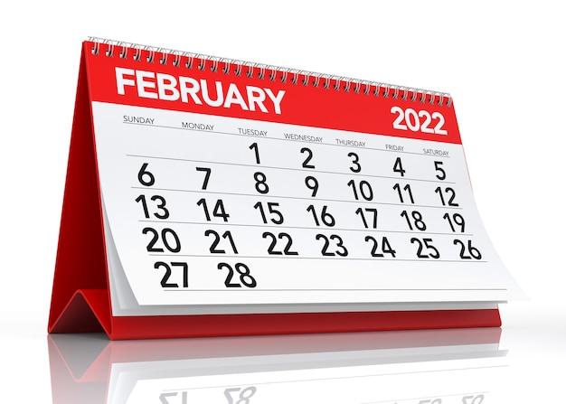 Calendário de fevereiro de 2022. isolado no fundo branco. ilustração 3d