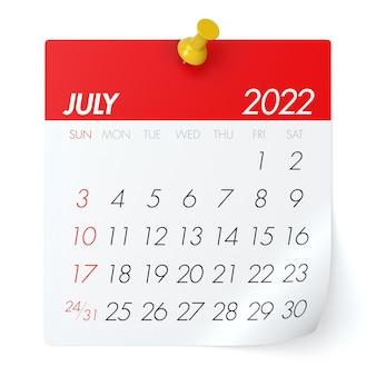 Calendário de julho de 2022. isolado no fundo branco. ilustração 3d