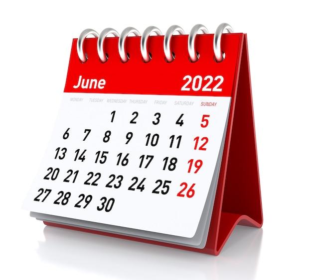 Calendário de junho de 2022. isolado no fundo branco. ilustração 3d