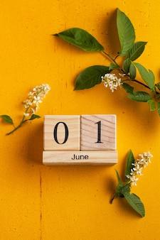 Calendário de madeira de 1º de junho em uma superfície amarela com flores brancas