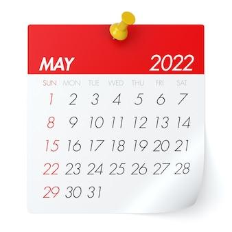 Calendário de maio de 2022. isolado no fundo branco. ilustração 3d