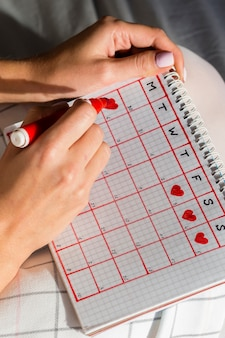 Calendário de menstruação de alta vista com corações