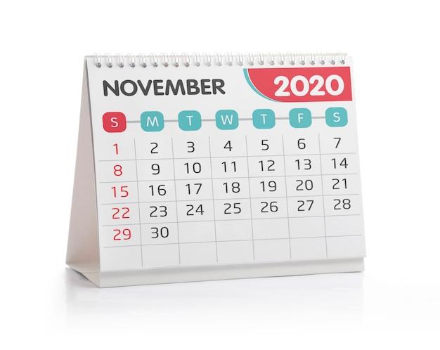 Calendário de novembro de 2020