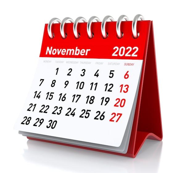 Calendário de novembro de 2022. isolado no fundo branco. ilustração 3d