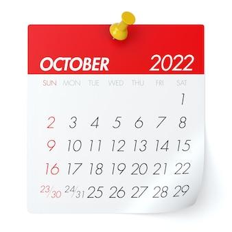Calendário de outubro de 2022. isolado no fundo branco. ilustração 3d