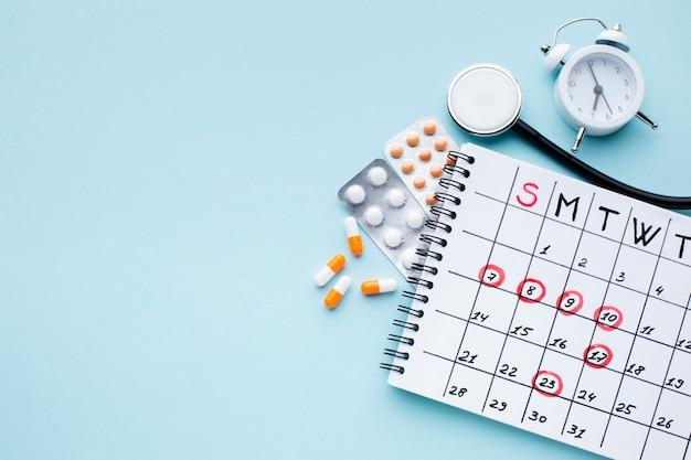 Calendário de tratamento médico e gerenciamento de tempo