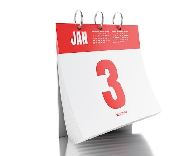 Calendário do dia 3d com data 3 de janeiro de 2017