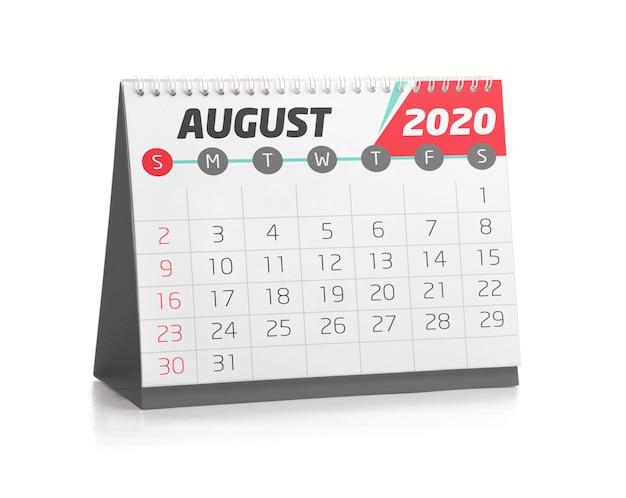 Calendário do escritório agosto de 2020