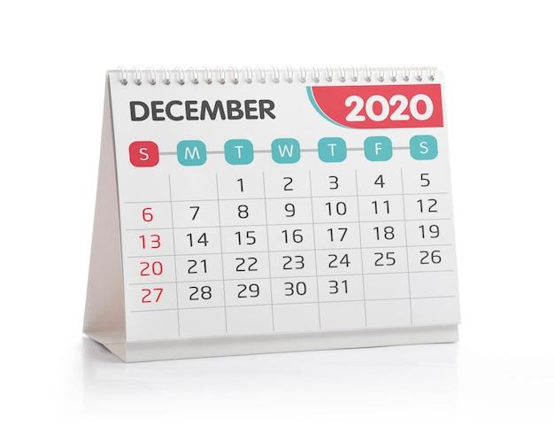 Calendário do escritório de dezembro de 2020