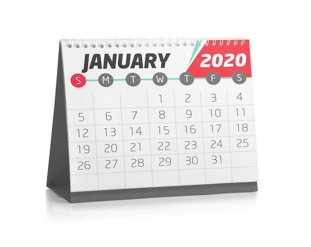 Calendário do escritório em janeiro de 2020