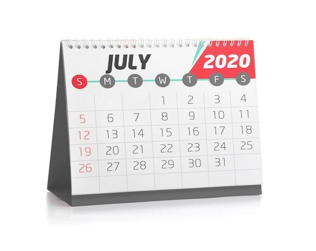 Calendário do escritório em julho de 2020