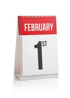 Calendário do mês de fevereiro primeiro dia