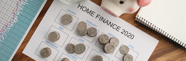 Calendário do planejador de finanças domésticas
