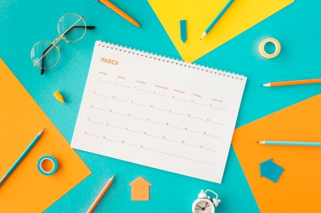 Calendário e acessórios do planejador plano
