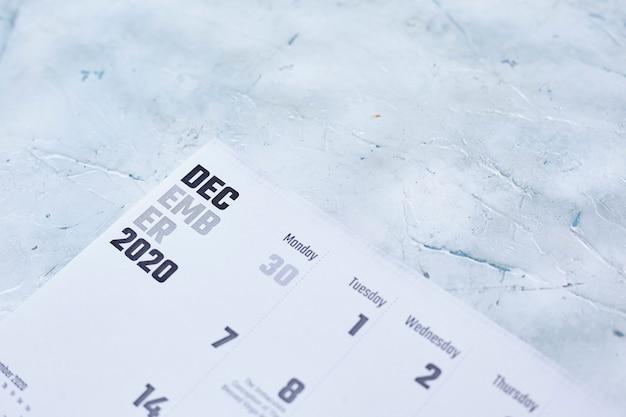 Calendário mensal de dezembro de 2020