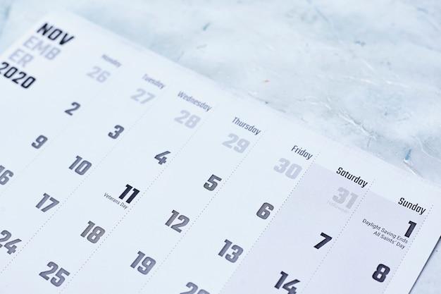 Calendário mensal de novembro de 2020