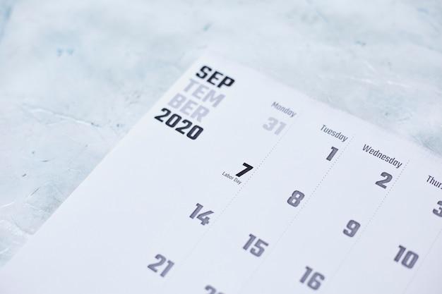 Calendário mensal de setembro de 2020