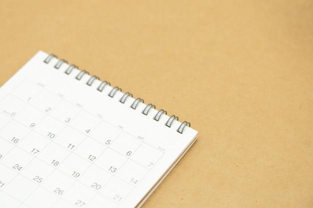Calendário para planejamento de negócios