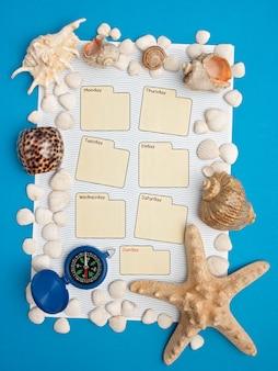 Calendário semanal em estilo marinho