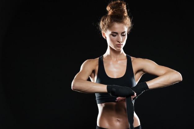 Calma lutador feminino amarrar atadura