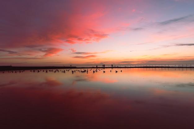 Calmo, colorido, amanhecer, céu, em, oceânicos, banho, austrália, austrália