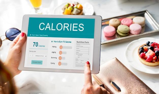 Calorias nutrição alimentos exercício concept