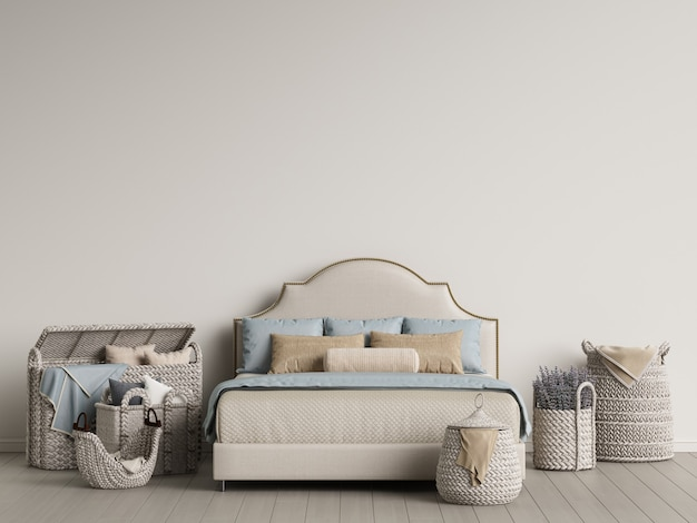Cama clássica e cestas de vime em interior claro. ilustração digital. renderização 3d