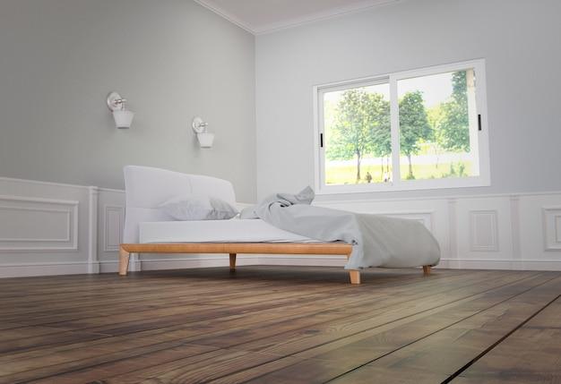 Cama com cama e travesseiro com duas lâmpadas, piso de madeira no fundo da parede branca.
