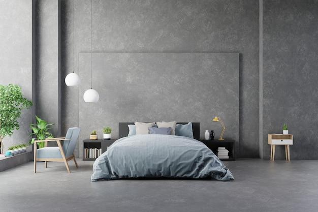 Cama com lençóis no quarto parede de concreto interior e mobiliário moderno.