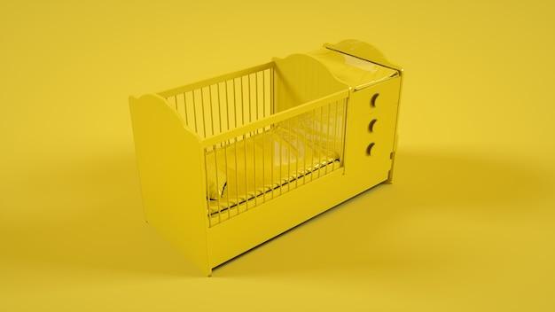 Cama de berço em amarelo. ilustração 3d.