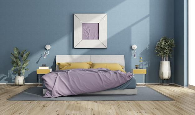 Cama de casal colorida em um quarto moderno com parede azul, moldura e plantas caseiras - renderização em 3d