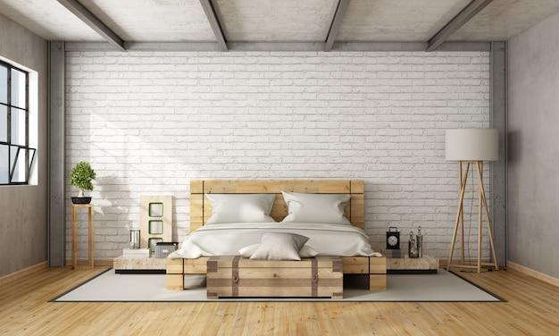 Cama de casal de madeira no loft