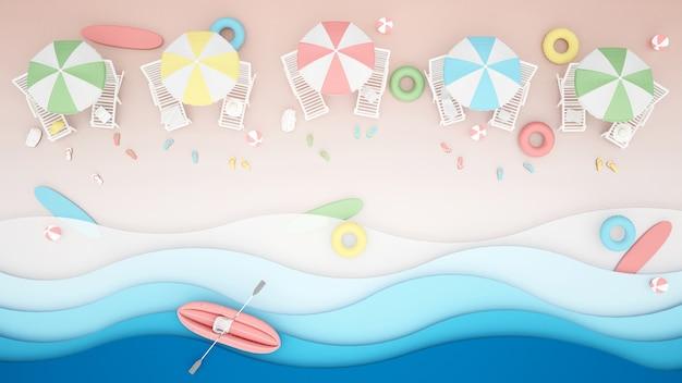 Cama de praia e água jogar equipamentos na praia