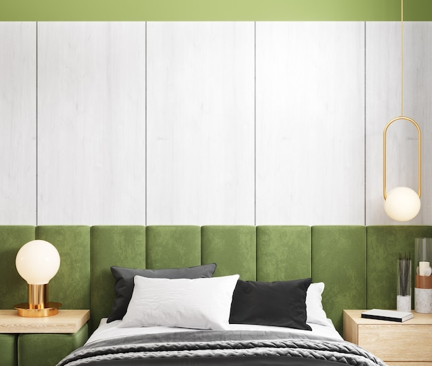 Cama em apartamento de design moderno, interior do quarto com maquete de parede vazia, renderização 3d