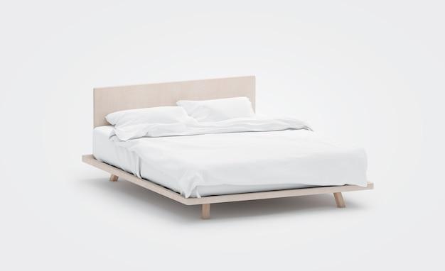 Cama em branco com maquete de travesseiros. rendição em 3d. lençóis simulados com cobertor transparente na cabeceira da cama