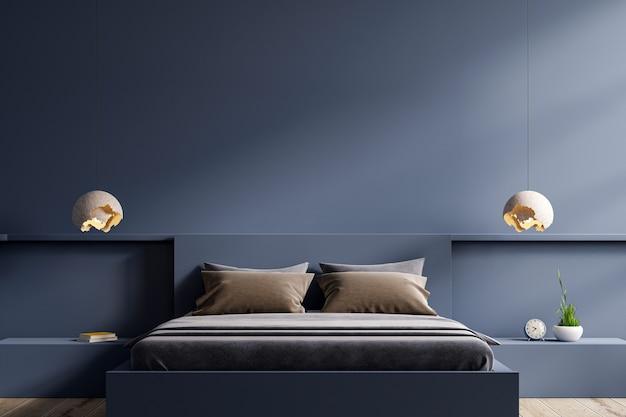 Cama escura e maquete de parede azul escura no interior do quarto, renderização em 3d