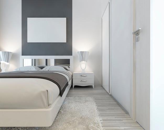 Cama moderna com cabeceira espelhada e mesas de cabeceira com candeeiros. perto da cama, um grande guarda-roupa deslizante e um tapete branco felpudo. acima do pôster da maquete da cama. 3d render.