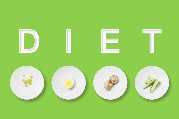 Cama plana minimalista de comida saudável