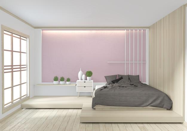Cama quarto cor rosa japonês design de interiores
